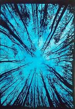 Forest Tree Cotton Blue Color Wall Hanging Door Decor Tapestry Poster Small Art