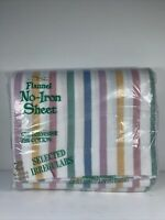 Vintage West Point Pepperel Flannel No-Iron Sheet Queen Flat 60x80 Striped
