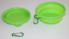 2 pcs PET TRAVEL BOWL FOR CATS & DOGS  IDEAL FOR TRAVEL GREEN COLLAPSIBLE  *NEW*