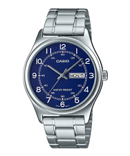 NEW Casio MTP-V006D-2B Mens Silver-tone Stainless Steel Dress Watch BLUE Dial
