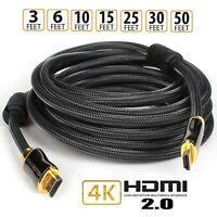 Braided 6ft~50ft High Speed HDMI Cable 4Kx2K 60Hz HDR 18Gbps 28AWG YUV 4:4:4 lot