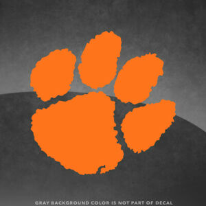 """Clemson Tigers Paw Vinyl Decal Sticker - 4"""" and Up - More Colors"""