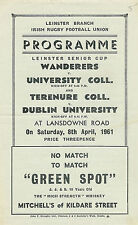 Wanderers V University College & terenure College V Dublino 1961 RUGBY programma