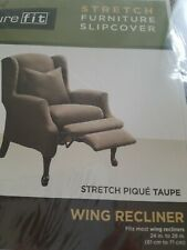 SureFit Stretch Pique Taupe - Wing Recliner  Chair Slipcover 2 piece