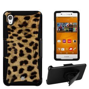 For Sony Xperia Z3 Hybrid Holster Belt Clip Phone Case Cheetah Animal Print