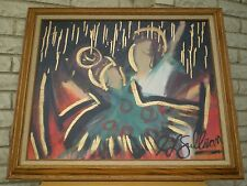 Unique Abstract Painting by J L Sullivan ~ Signed Original Oil /Canvas ~ Vintage