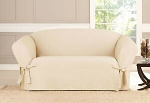 Sure Fit Sailcloth Box Cushion Loveseat  Slipcover by Sure Fit NEW
