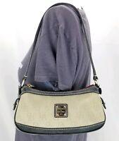 DOONEY & BOURKE Khaki Canvas SIGNATURE Hand Shoulder Bag Leather Trim Purse EUC