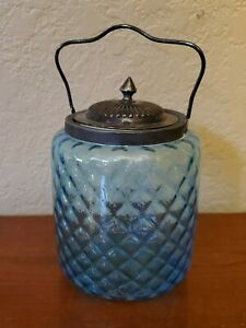 Victorian Art Blue Diamond Optic Pattern Glass Biscuit Jar