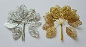 Lacy effect Rose Leaves Silver or Gold , Card Craft Buttonholes, Corsages cakes