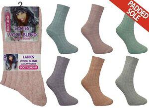 Ladies Wool Socks Womens Thick Padded Sole Hiking Walking Boot Sock Lot Size 4-7