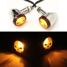 2x Motorcycle Chrome Amber Skull LED Turn Signal Light For Harley Bobber Chopper