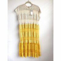Zara Linen Cotton Button Down Midi Skirt With Belt XS S M L Pastel Yellow