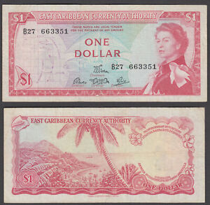 East Caribbean States 1 Dollar 1965 (F-VF) Condition Banknote P-13d QEII