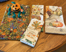 FALL SEASONAL ITEMS, A TY PUMPKIN W TAGS, 4 PLACEMATS, 2 TOWELS, I TABLECLOTH