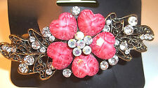 HAIR BARRETTE- PINK STONES,AURORA BOREALIS & CLEAR CRYSTAL FLOWER DESIGN.GOLD