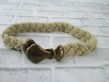 Vintage Tan Gold Braided Rope Woven Womens Belt Copper Clasp Small Boho Hippie