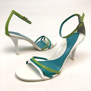 ✅❤️✅@ Gianni Bini Alexa Women's White/Blue Leather Ankle Strap Sandals 9 M Open