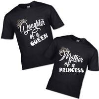 NEW CHROME CROWN MOTHER OF A PRINCESS AND DAUGHTER QUEEN TSHIRT MUM GIRL PRINCES