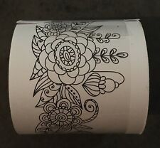 Thick Washi Craft Tape Floral Coloring Black White Flowers Unique New Lowship!