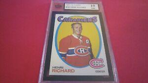 1971 Topps hockey card of Henri Richard #120 graded a perfect 10 GM