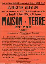 AISNE (02) / CHIVRES-EN-LAONNOIS / VENTE DE MAISON - TERRE ET PRE EN 1956