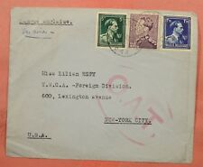 """1945 BELGIUM BRUSSELS AIRMAIL TO USA """"O.A.T."""" OAT HAND STAMP AIRMAIL"""