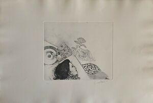 BRUNO CARUSO incisione acquaforte Una Donna 65x45 firmata pubblicata 1970