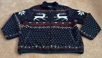 Polo Ralph Lauren Reindeer Holiday Christmas Zip Up Fleece Jacket Men Size XL