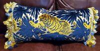 Tiger Cut Velvet/Epingle Lumbar Pillow with Lee Jofa Silk Tassel Trim Stunning!