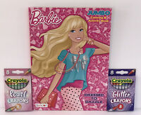 3 Pc Barbie Gift Set Jumbo Coloring & Activity Book + Glitter & Pearl Crayons
