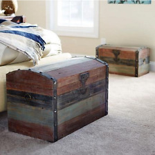 Decorative Storage Trunk Chest Antique Wooden Vintage Bedroom Blanket Hope Box