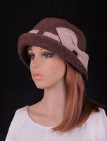 M411 Coffee Cute Bow Roll Brim Women's Wool Acrylic Winter Cloche Hat Bucket Cap