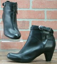 Sam Edelman Black Leather Heeled Zip Buckle Ankle Boots Style Maddox Size 4 M