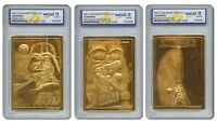 STAR WARS 1996 Genuine 23KT Gold Cards Graded Gem-Mint 10 * ORIGINAL SET OF 3 *