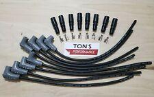 16 Msd 85mm Lsx Ls1 Ls2 Lq9 Universal 90 Degree Spark Plug Boots Wires Black