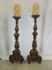 Coppia porta candele in lamierino argentato del '700 cm 49x17 Antikidea