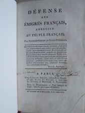 DEFENSE DES EMIGRES FRANCAIS, 1797. Ex. de LE BIGOT capitaine de vaisseau Bréhat