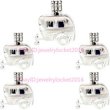 Silver Color Pearl Cage Locket - Carriage Charm Locket Diffuser Pendant  5X-K916