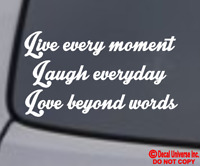 LIVE LAUGH LOVE Vinyl Decal Sticker Car Window Wall Bumper Family Friends Quote