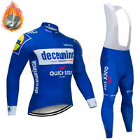 Mens Long Sleeve Cycling Jacket Jersey Top Fleeced Tights Bicycle Bike Thermal