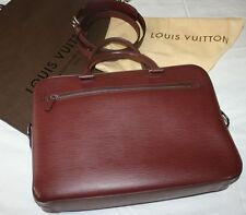 MINT Louis Vuitton Soft Epi Leather Men's Document Briefcase Porte Bordeaux