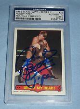 Rowdy Roddy Piper Signed 1985 Topps O-Pee-Chee WWF Card 25 PSA/DNA Slab Auto WWE