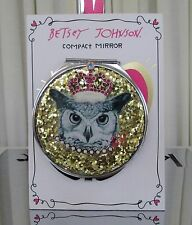 Betsey Johnson Owl Compact Mirror Crystals Glitter NEW!