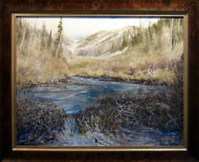 "Dave Iles ""Beaver Dam"" Original Painting on Canvas, Custom Framed, Hand Signed"