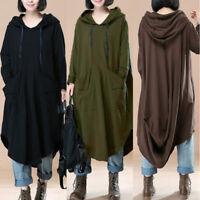 L-5XL ZANZEA Women Oversized Loose Batwing Hooded Maxi Dress Kaftan Sweatshirt