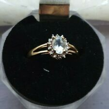 9ct Gold Aquamarine & Diamond Ring - Size O 1/2