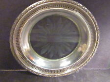 Vintage Frank Smith TALISMAN STERLING & GLASS BOTTLE COASTER Etched 6 5/8""