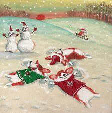 4x4 Pembroke Welsh Corgi Print Of Painting Ryta Xmas Snowman Angel Snow Buy Folk