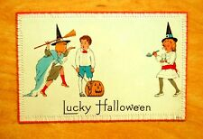 Lucky Halloween Girl Witches Boy & J-O-L Nash Halloween Series 8A Postcard c1914